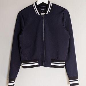 TOM TAYLOR Blue bomber jacket striped waistband